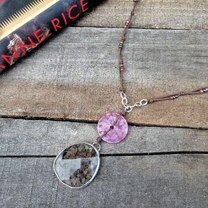 NWT PEYOTE BIRD Sterling Silver Granite Necklace